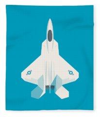F22 Raptor Jet Fighter Aircraft - Cyan Fleece Blanket