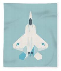 F22 Raptor Jet Fighter Aircraft - Sky Fleece Blanket