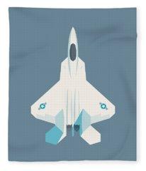 F22 Raptor Jet Fighter Aircraft - Slate Fleece Blanket
