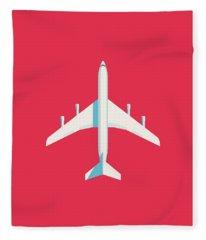 707 Passenger Jet Airliner Aircraft - Crimson Fleece Blanket