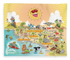 Ultimate Sunny California Beach Paradise Fleece Blanket