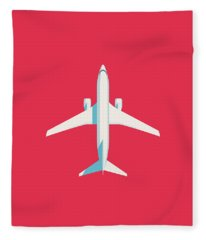 737 Passenger Jet Airliner Aircraft - Crimson Fleece Blanket