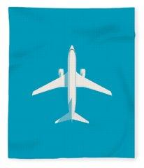 737 Passenger Jet Airliner Aircraft - Cyan Fleece Blanket