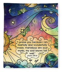Fearfully And Wonderfully Made By Him Fleece Blanket