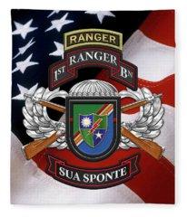 1st Ranger Battalion - Army Rangers Special Edition Over American Flag Fleece Blanket