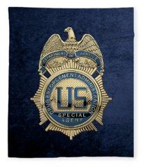 Drug Enforcement Administration -  D E A  Special Agent Badge Over Blue Velvet Fleece Blanket