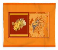 Lion Pair Hot Fleece Blanket