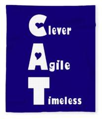 Cat With White Words Fleece Blanket