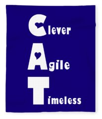 Cat With White Words Fleece Blanket