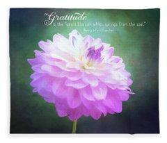 Pink Dahlia Gratitude Artwork Fleece Blanket