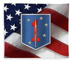 1st Marine Raider Battalion - 1st Marine Special Operations Battalion M S O B  Patch Over Flag Fleece Blanket