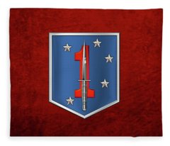 1st Marine Raider Battalion - 1st Marine Special Operations Battalion M S O B  Patch Over Red Velvet Fleece Blanket