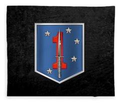 1st Marine Raider Battalion - 1st Marine Special Operations Battalion M S O B  Patch Over Black Fleece Blanket