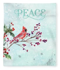 Woodland Holiday Peace Art Fleece Blanket