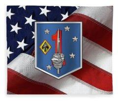 1st Marine Raider Support Battalion  -  1st  M R S B  Patch Over American Flag Fleece Blanket