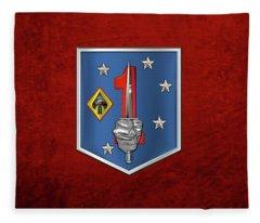 1st Marine Raider Support Battalion  -  1st  M R S B  Patch Over Red Velvet Fleece Blanket