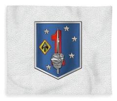 1st Marine Raider Support Battalion  -  1st  M R S B  Patch White Leather Fleece Blanket