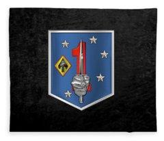 1st Marine Raider Support Battalion  -  1st  M R S B  Patch Over Black Velvet Fleece Blanket