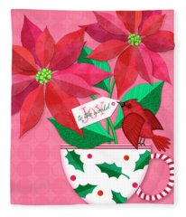 Poinsettia In Christmas Cup Fleece Blanket