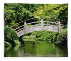 Japanese Garden Arch Bridge In Springtime Fleece Blanket