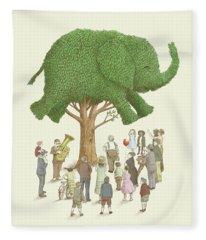 The Elephant Tree Fleece Blanket