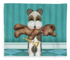 T Is For Terrier And Teddy Fleece Blanket