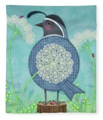 Q Is For Quail And Queen Anne's Lace Fleece Blanket