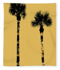 Graphic Art Palm Trees La - Yellow Fleece Blanket