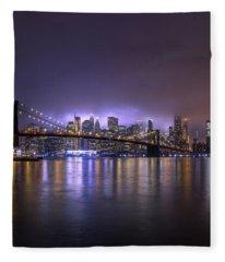 Bright Lights Of New York II Fleece Blanket