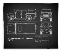 Defender 110 Blueprint Black Fleece Blanket