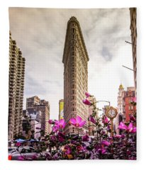 Flatiron And Flowers Fleece Blanket
