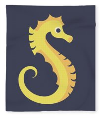Letter S - Animal Alphabet - Seahorse Monogram Fleece Blanket