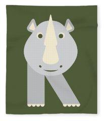 Letter R - Animal Alphabet - Rhino Monogram Fleece Blanket