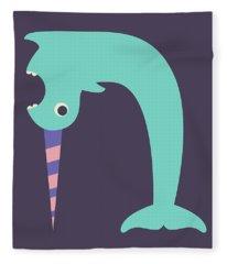 Letter N - Animal Alphabet - Narwhal Monogram Fleece Blanket