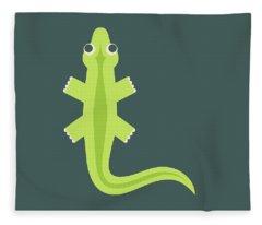 Letter L - Animal Alphabet - Lizard Monogram Fleece Blanket