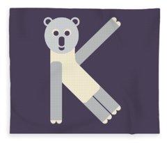 Letter K - Animal Alphabet - Koala Monogram Fleece Blanket