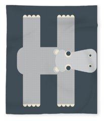 Animal Alphabet - Letter H - Hippo Monogram Fleece Blanket