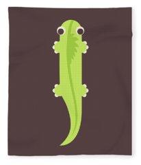 Letter I - Animal Alphabet - Iguana Monogram Fleece Blanket