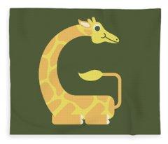 Letter G - Animal Alphabet - Giraffe Monogram Fleece Blanket