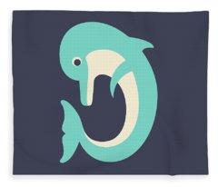 Letter D - Animal Alphabet - Dolphin Monogram Fleece Blanket