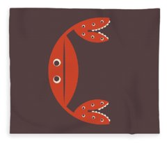 Letter C - Animal Alphabet - Crab Monogram Fleece Blanket