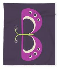 Letter B - Animal Alphabet - Butterfly Monogram Fleece Blanket