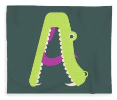 Letter A - Animal Alphabet - Alligator Monogram Fleece Blanket