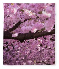 Cherry Blossom Tree Panorama Fleece Blanket