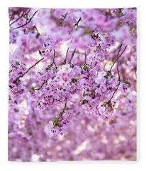 Cherry Blossom Flowers Fleece Blanket