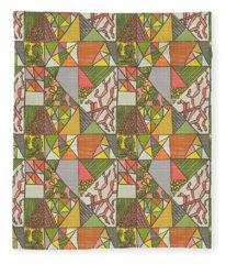 Geometric Flowering Cacti Fleece Blanket