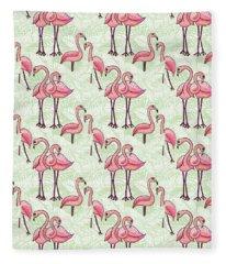 Flamingo Pattern Fleece Blanket