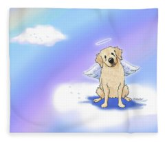 Golden Retriever At Rainbow Bridge Fleece Blanket