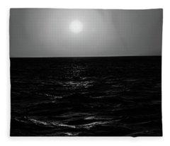 Aruba Sunset In Black And White Fleece Blanket