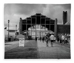 Fleece Blanket featuring the photograph Asbury Park Boardwalk by Steve Stanger
